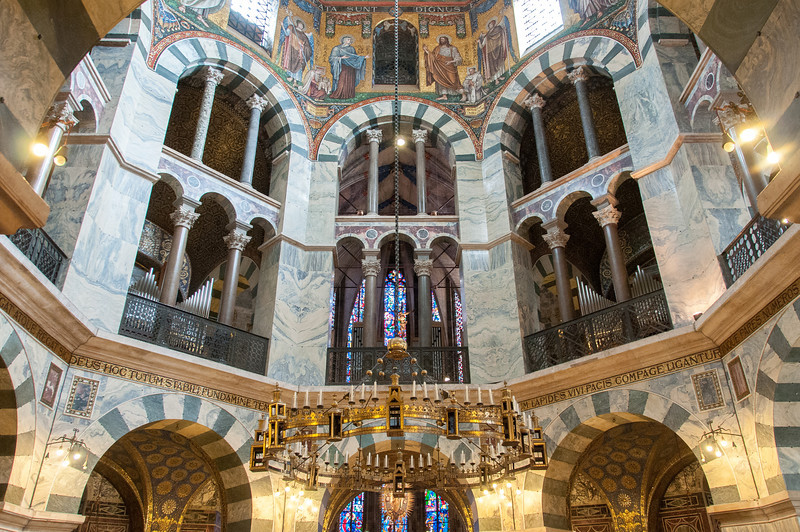 The interior details of Aachen Cathedral in Germany