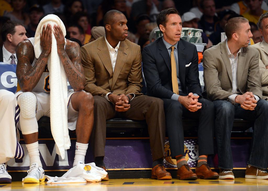 . Los Angeles Lakers, from left, Earl Clark, Jodie Meeks, Steve Nash and Steve Blake. Hans Gutknecht/Los Angeles Daily News