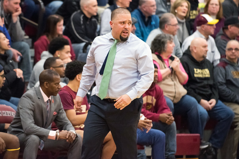 03/12/19  Wesley Bunnell   Staff  New Britain basketball defeated Glastonbury 56-53 in state semifinal game to advance to the championship game to be played this Saturday or Sunday at the Mohegan Sun Casino.  Head Coach Kurt Reis.