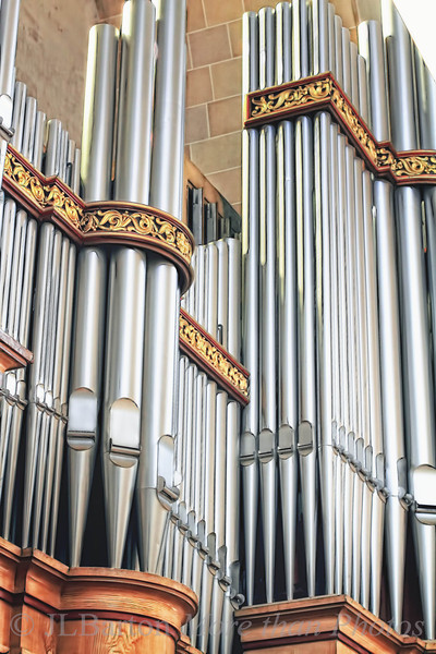 Voices 2012-05-04  Organ pipes at the St. Francis of Assisi church.  I like the way there are curves and rectangles. Many thanks for the comments on the cherry grove.