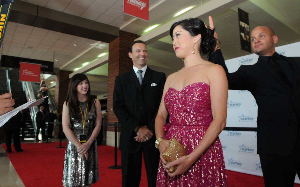 ". Olympic gold medalist and ""Dancing with the Stars\"" champ Kristi Yamaguchi is married to Minnesota native and former Olympic hockey player Bret Heidcan, left. Far right is Stephen Belafonte who hams it up by making rabbit ears behind her back. (Pioneer Press: Ginger Pinson)"
