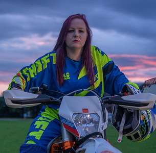 Jess Tainton and a dirt bike
