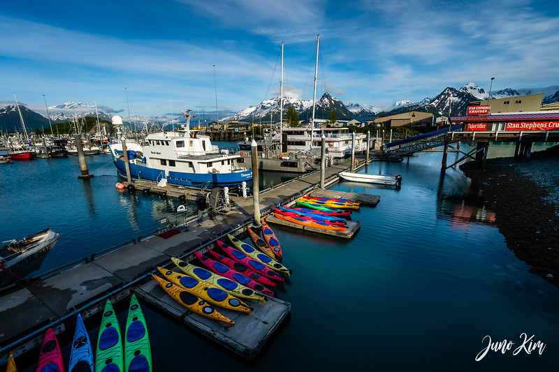 Kayaks in Valdez Harbor