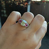 2.18ct Radiant Cut Diamond and Pink sapphire 3-Stone Ring by DBL GIA W-X, VS2 18