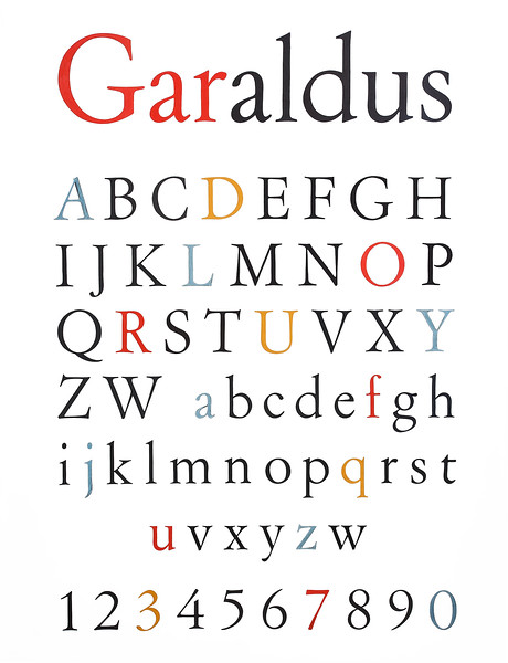 The Archive of Styles® includes among its collections several tempera drawings by Aldo Novarese. Among them there is the original poster of the Garaldus type, which he drew and colored by hand in 1955.