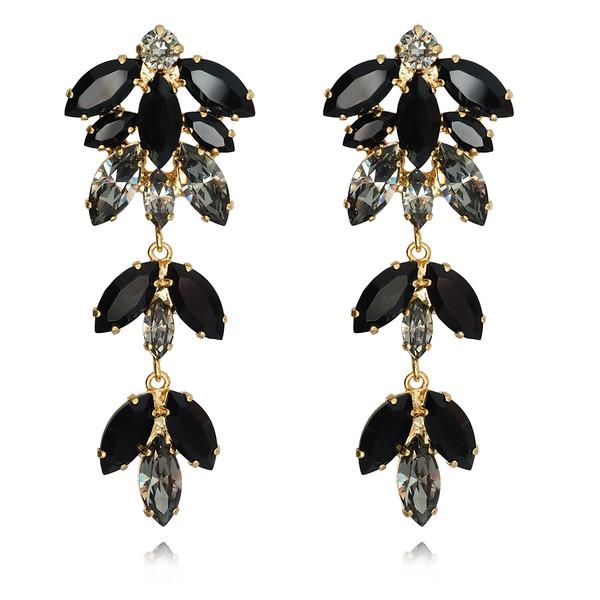 Nyx Earrings / Jet + Black Diamond / Gold