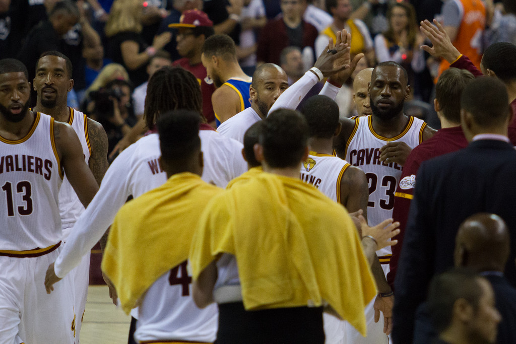 . The Cleveland Cavaliers celebrate during game 4 of the NBA Finals against the Golden State Warriors at the Quicken Loans Arena on June 10, 2017.  The Cavs defeated the Warriors 137-116.