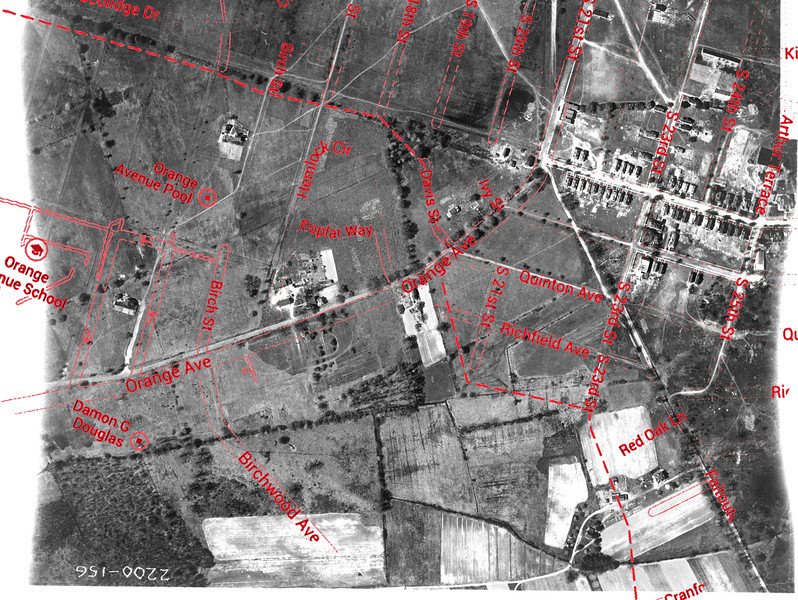1923 Aerial with overly featuring Newark Ave. and the New Orange Park development.