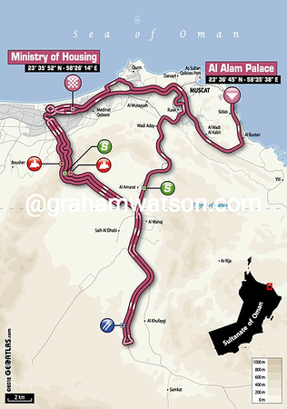 Tour of Oman Stage 5:  Al Alam Palace - Ministry of Housing in Boshar 144 km