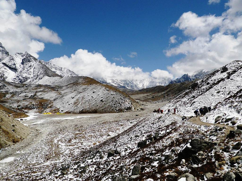 Continue uphill - to the left is IMG and HimEx interim Lobuche Camp.