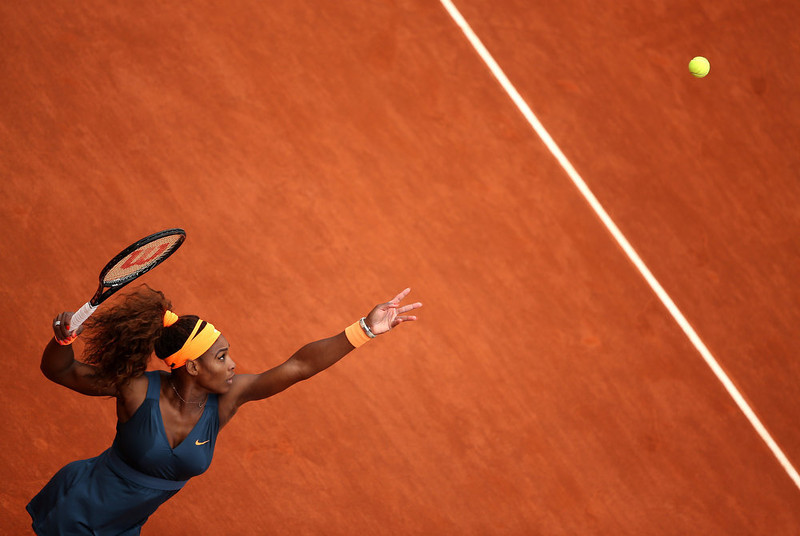 . Serena Williams of the United States of America serves in her Women\'s Singles match against Anna Tatishvili of Georgia during day one of the French Open at Roland Garros on May 26, 2013 in Paris, France.  (Photo by Clive Brunskill/Getty Images)