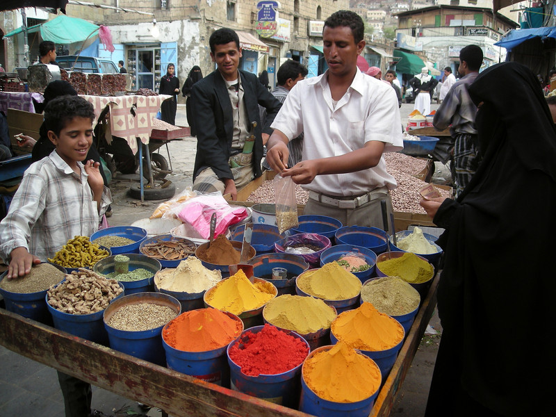 a spice seller in the souq in old Taiz