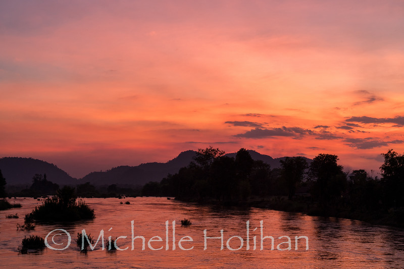 Sunset on the Mekong River, Don Khon, Laos