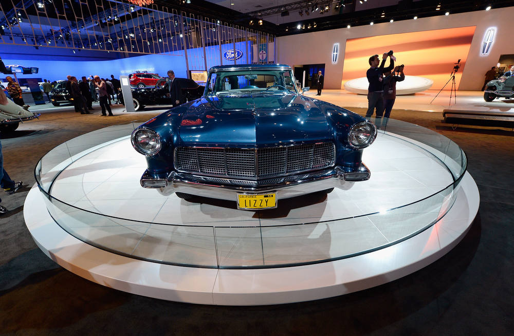 . LOS ANGELES, CA - NOVEMBER 28: A 1956 Continental Mark II is shown on display as part of Lincoln\'s Heritage On Display during the Los Angeles Auto Show media day on November 28, 2012 in Los Angeles, California. This car was built especially for Elizabeth Taylor with custom paint and interior that matched the color of her eyes.  (Photo by Kevork Djansezian/Getty Images)