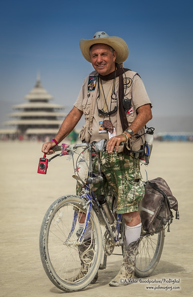 One of dozens of volunteer rangers patroling the playa. This is his 17th burn.
