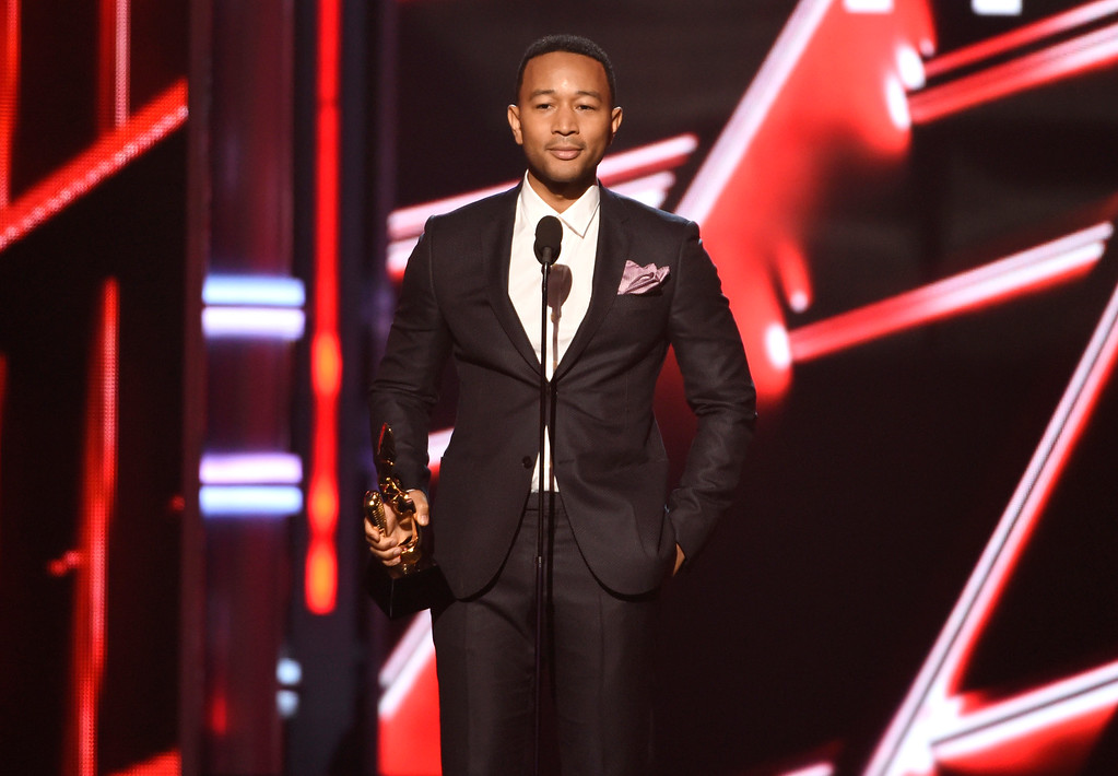 . John Legend accepts the award for top radio song for �All of Me� at the Billboard Music Awards at the MGM Grand Garden Arena on Sunday, May 17, 2015, in Las Vegas. (Photo by Chris Pizzello/Invision/AP)