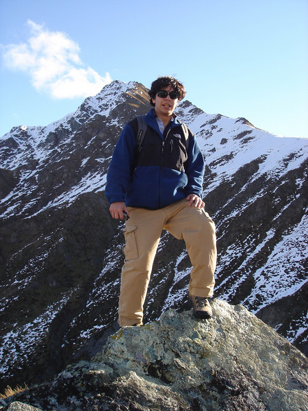 posing in front of the moutain