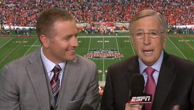 """. <p><b> ESPN�s Brent Musburger flubbed the beginning of Monday night�s BCS championship game, introducing himself by saying � </b> <p> A. �I�m Kirk Herbstreit� <p> B. �I�m Lee Corso� <p> C. �I�m Katherine Webb� <p><b><a href=\'http://www.nydailynews.com/sports/college/espn-brent-musberger-introduces-kirk-herbstreit-article-1.1568079\' target=\""""_blank\"""">HUH?</a></b> <p>   (Photo from YouTube)"""
