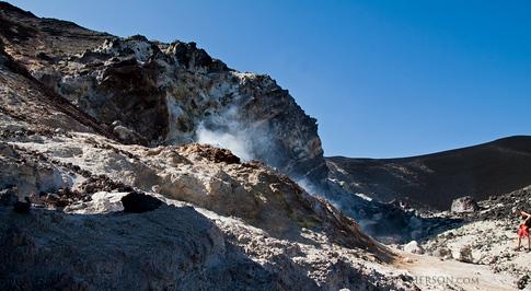 Steam vents in the Cerro Negro Volcano crater