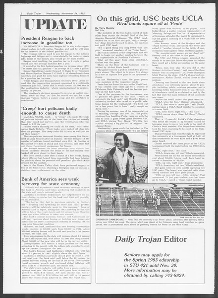 Daily Trojan, Vol. 92, No. 56, November 24, 1982