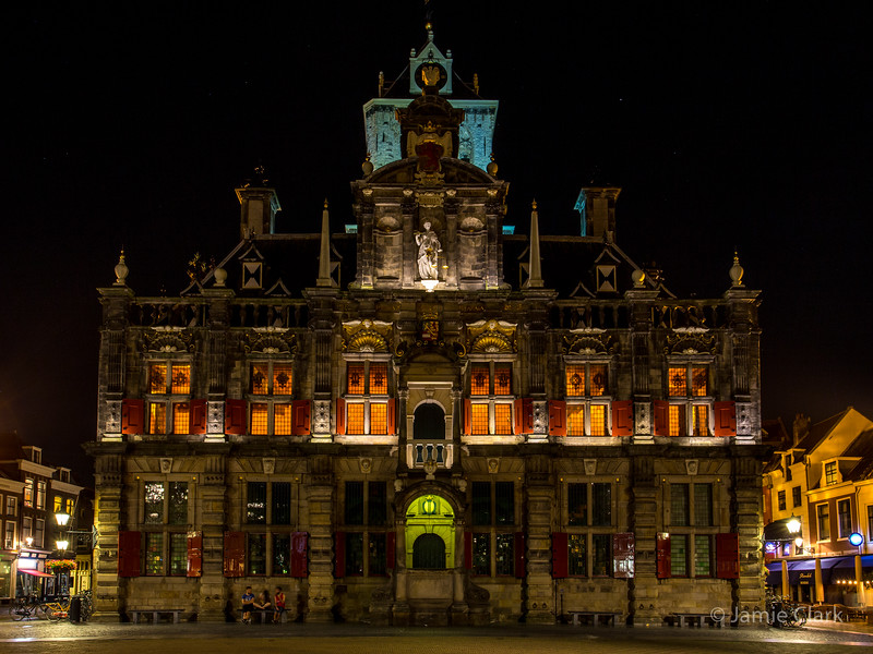 Stadhuis (City Hall). Parts of the building date back to the 1600s (the prison which this was built upon part), the part you see from the 1800s. Delft, Netherlands
