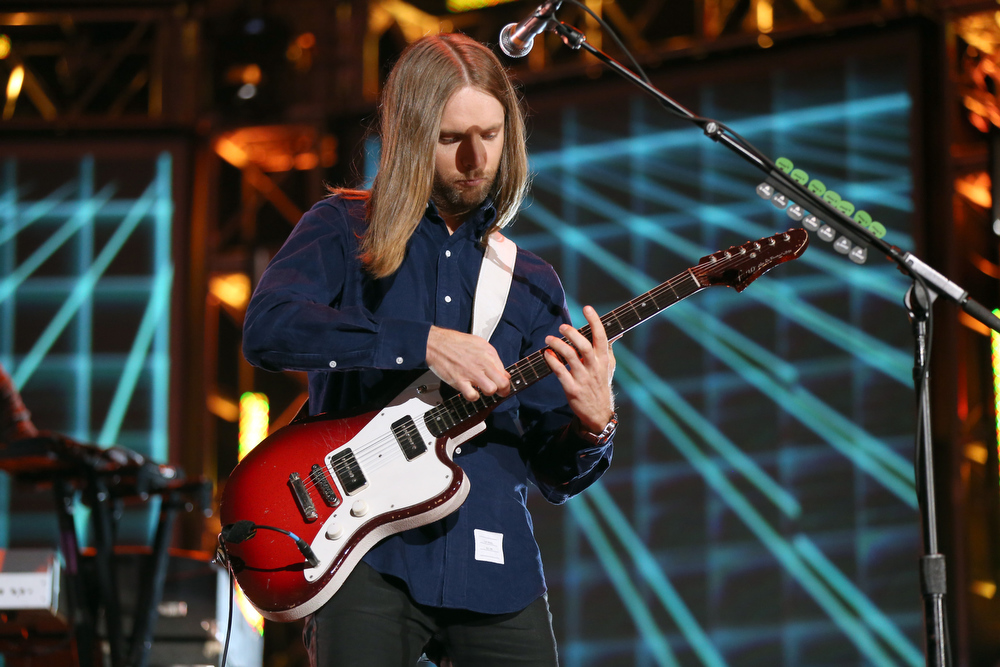Description of . Guitarist James Valentine of Maroon 5 performs onstage at The GRAMMY Nominations Concert Live!! held at Bridgestone Arena on December 5, 2012 in Nashville, Tennessee.  (Photo by Christopher Polk/Getty Images)