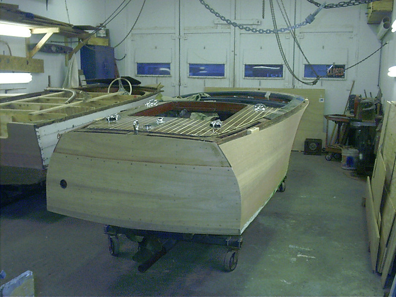 Rear starboard view of hull right side up.