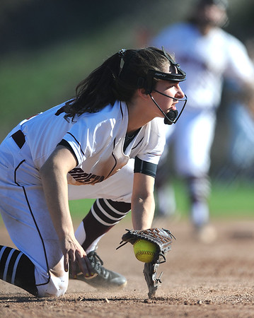 4/24/2019 Mike Orazzi | Staff Bristol Central's Gwen Torreso (15) during Wednesday's softball with Simsbury in Bristol.