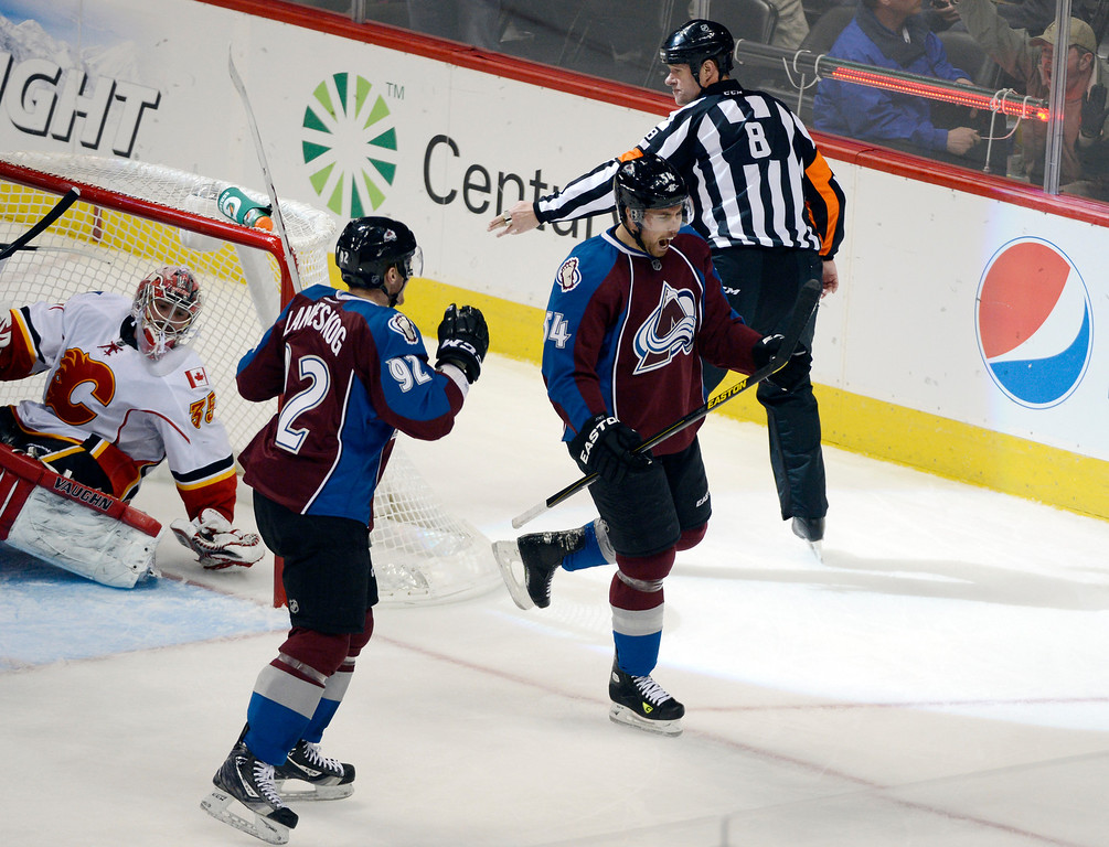 . DENVER, CO. - FEBRUARY 28: David Jones (54) of the Colorado Avalanche yells out after his goal on G Joey MacDonald (35) of the Calgary Flames as Gabriel Landeskog (92) of the Colorado Avalanche come ove to celebrate during the second period February 28, 2013 at Pepsi Center.(Photo By John Leyba/The Denver Post)
