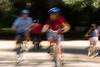 Ciclistas em movimento