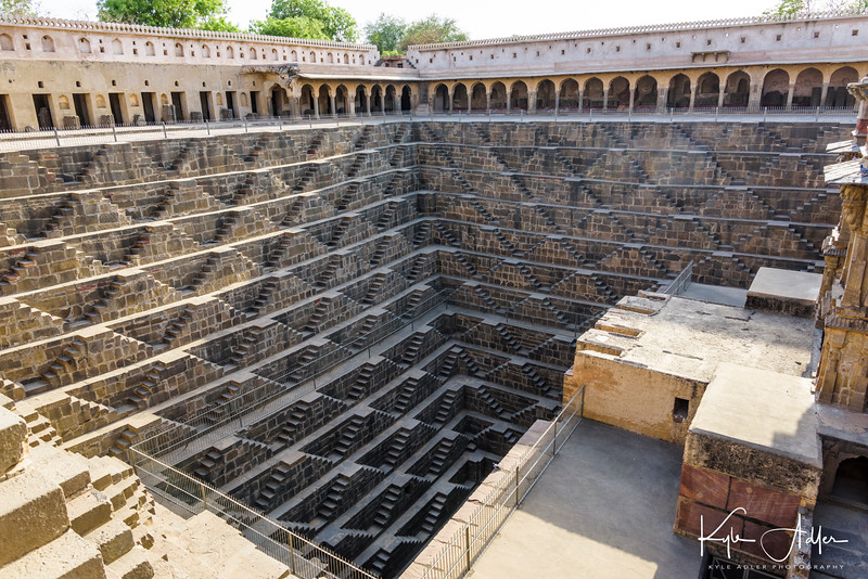 The remarkable Abhaneri step-well provided a means to bring up water from a very low water table.