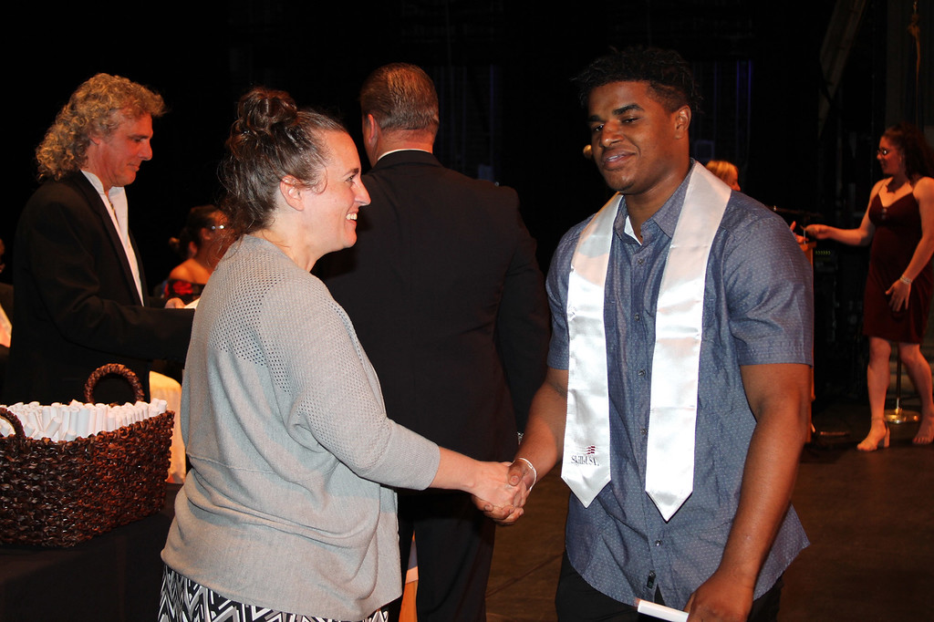 . Ulster BOCES Culinary Arts and Kingston City School District student Joshua Charles receives his certificate at the Career & Technical Center�s Achievement Ceremony.