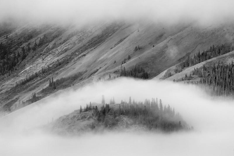 Mist shrouds an island in Kluane Lake. June, 2013.