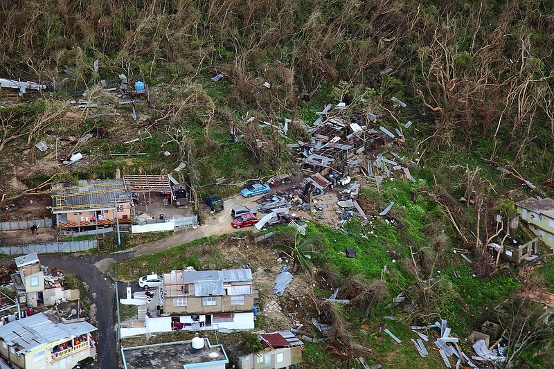 Homes lay in ruin as seen from a U.S. Customs and Border Protection, Air and Marine Operations, Black Hawk during a flyover of Puerto Rico after Hurricane Maria September 23, 2017. U.S. Customs and Border Protection photo by Kris Grogan