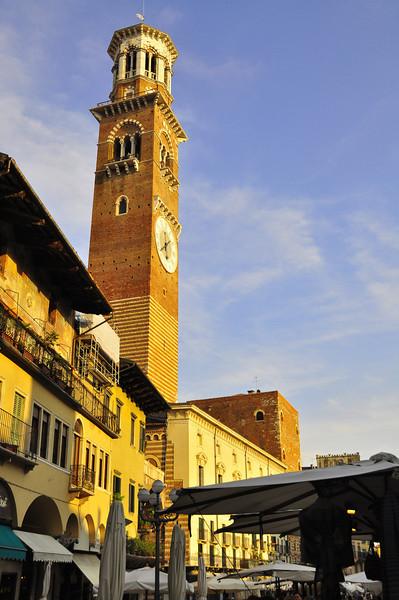 Famous Lombardi tower in Verona square