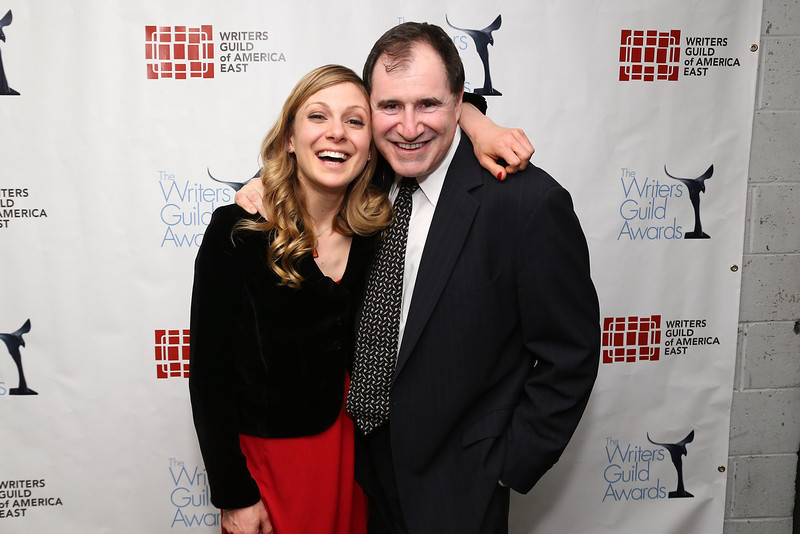 . Writer Lucy Alibar and actor Richard Kind pose backstage at the 65th annual Writers Guild East Coast Awards at B.B. King Blues Club & Grill on February 17, 2013 in New York City.  (Photo by Neilson Barnard/Getty Images)