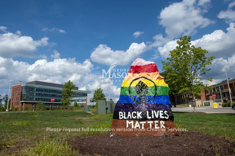 Black Lives Matter painted rock
