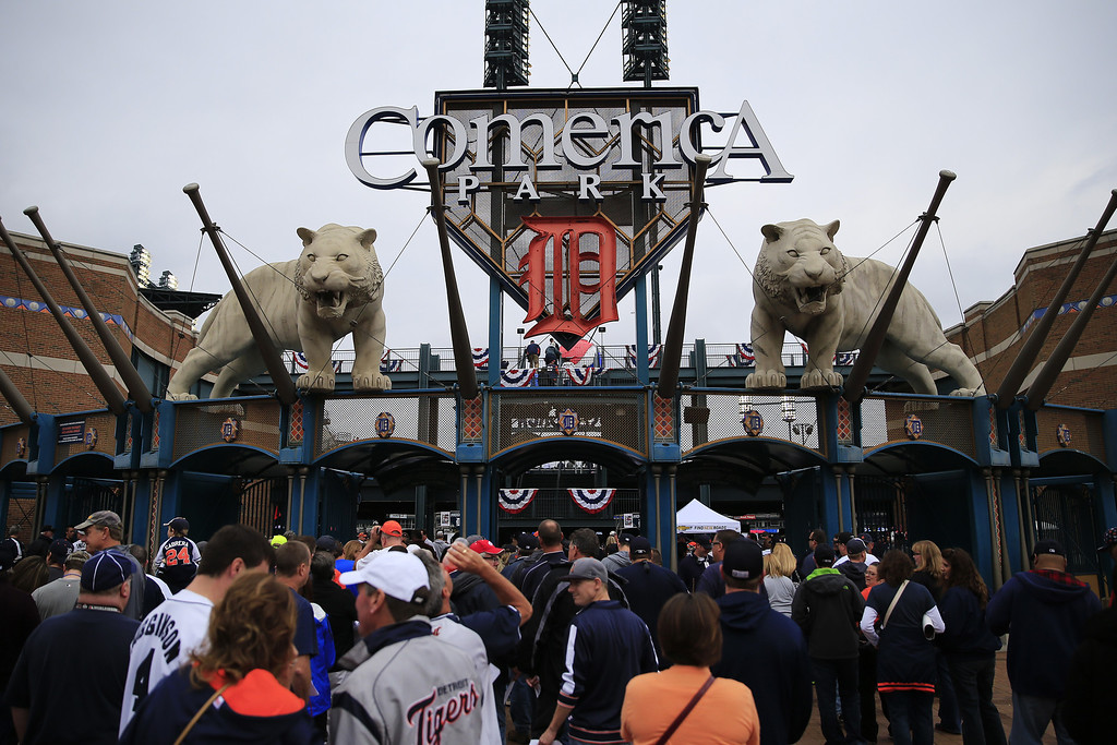 . Fans gather prior to Game Three of the American League Championship Series between the Detroit Tigers and the Boston Red Sox at Comerica Park on October 15, 2013 in Detroit, Michigan.  (Photo by Jamie Squire/Getty Images)