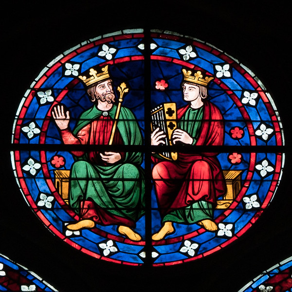 Bourges Cathedral Clerestory Rondel, Two Kings