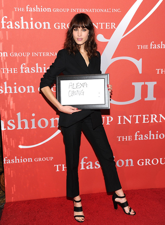 ". Model Alexa Chung attends the Fashion Group International\'s 30th annual ""Night Of Stars\"" awards gala at Cipriani\'s Wall Street on Tuesday, Oct. 22, 2013, in New York. (Photo by Evan Agostini/Invision/AP)"