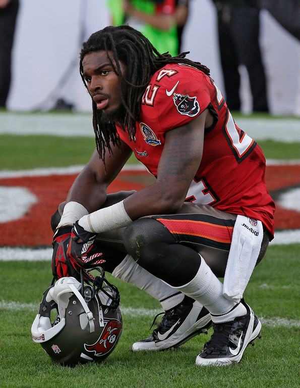 . Tampa Bay Buccaneers strong safety Mark Barron (24) reacts after the Philadelphia Eagles scored the game-winning touchdown with no time left on the clock during the fourth quarter of an NFL football game Sunday, Dec. 9, 2012, in Tampa, Fla. (AP Photo/Chris O\'Meara)