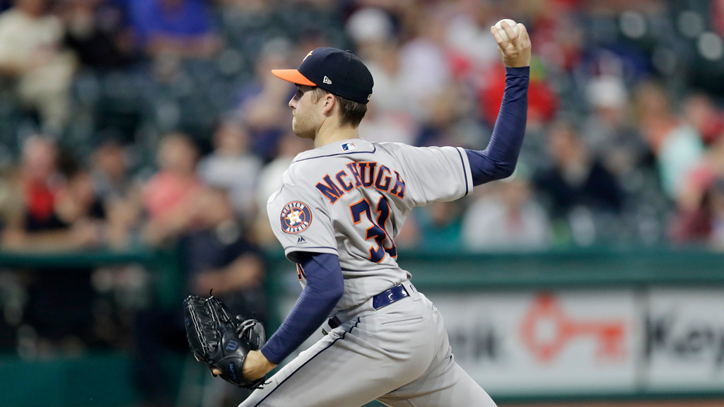 . Houston Astros relief pitcher Collin McHugh delivers in the ninth inning of a baseball game against the Cleveland Indians, Thursday, May 24, 2018, in Cleveland. (AP Photo/Tony Dejak)