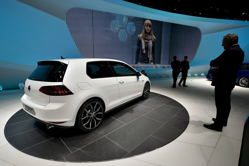 . The new Volkswagen Golf GTI is shown during the press day at the 83rd Geneva International Motor Show in Geneva, Switzerland, Tuesday, March 5, 2013. The Motor Show will open its gates to the public from 7th to 17th March presenting more than 260 exhibitors and more than 130 world and European premieres. (AP Photo/Keystone, Martial Trezzini)
