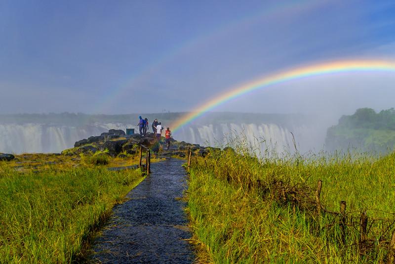 Rainbows over Victoria Falls in January when the Zambezi River is full.