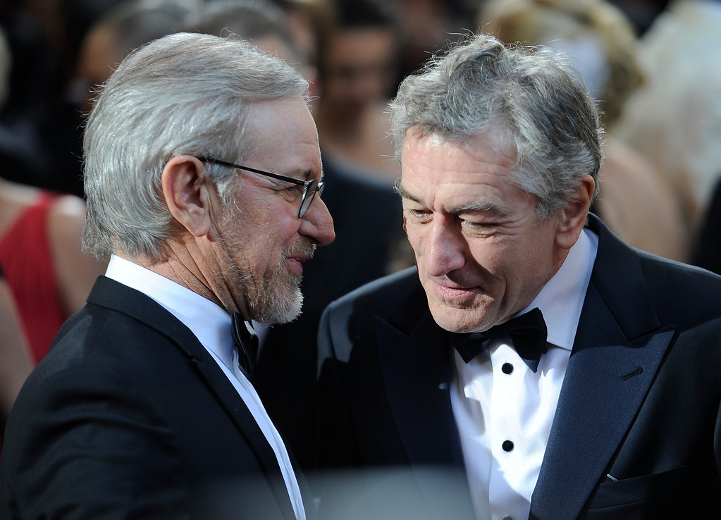 . Steven Spielberg and Robert De Niro arrives at the 85th Academy Awards at the Dolby Theatre in Los Angeles, California on Sunday Feb. 24, 2013 ( Hans Gutknecht, staff photographer)