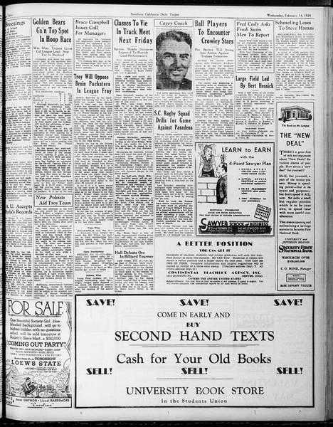 Daily Trojan, Vol. 25, No. 77, February 14, 1934