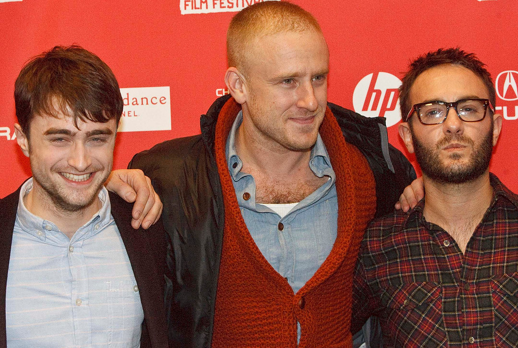 ". l-r  Daniel Radcliffe, Ben Foster and director John Krokidas pose for pictures before the premiere of ""Kill Your Darlings\"" at The Eccles Theatre screening venue during the 2013 Sundance Film Festival, Friday January 18, 2013. Leah Hogsten  