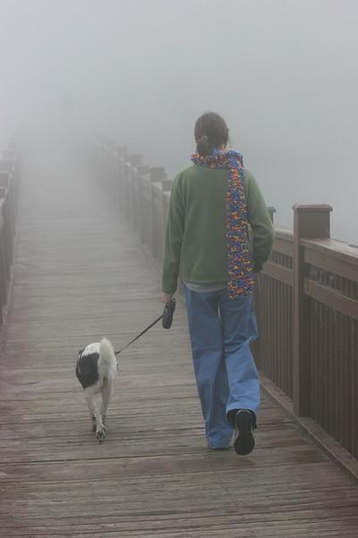 Cat & Bessie on the foot bridge over Lake Junaluska