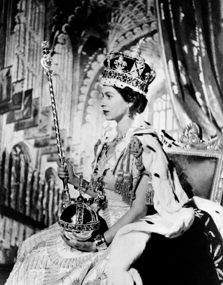 . In this file picture taken on June 2, 1953 Britain\'s Queen Elizabeth II poses on her Coronation day in London.  Queen Elizabeth II marked the 60th anniversary of her coronation on June 4, 2013 with a service at Westminster Abbey filled with references to the rainy day in 1953 when she was crowned.  FILES/AFP/Getty Images