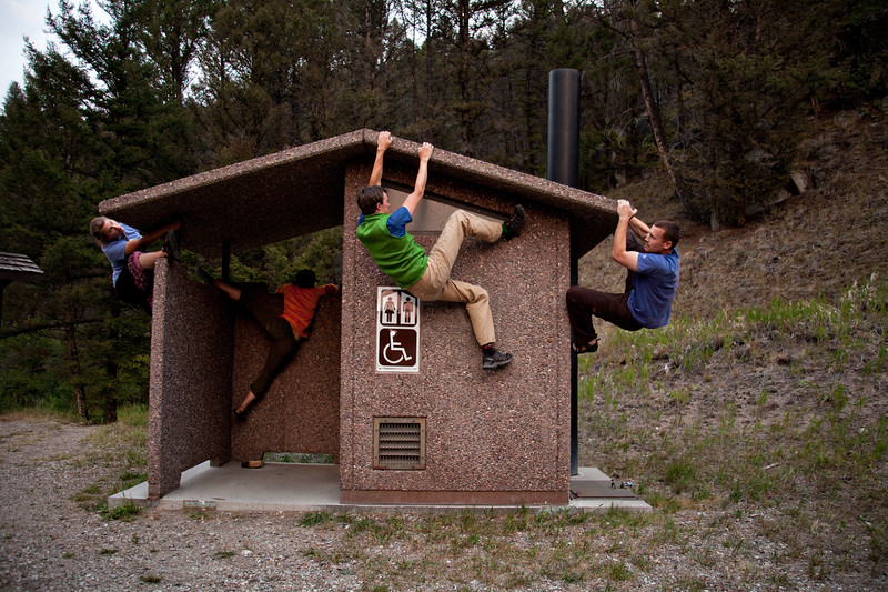 September 1, 2012. Day 239. Four climbers and an outhouse.   Between Butte and Dillon, Montana